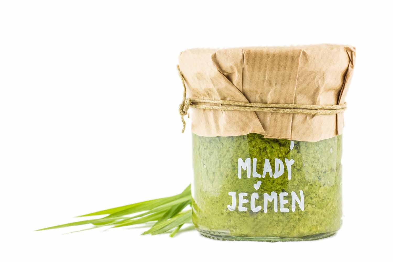 čerstvé pesto z mladého ječmene zdravý přírodní lehce stravitelný bez chemie